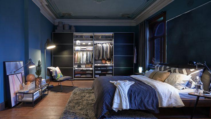 Inspiration fürs Schlafzimmer, hier mit PAX ILSENG Kleiderschrank mit Schiebetüren