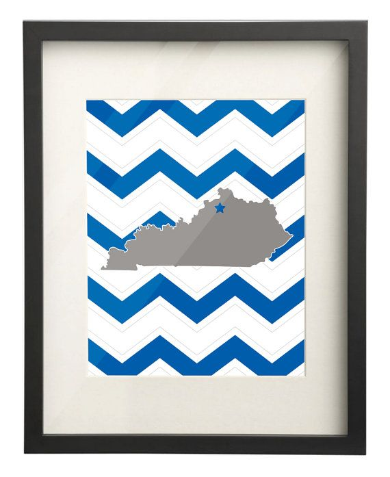 University of Kentucky UK State Map 8x10 Chevron by paperfreckles, $15.00