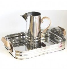 Silver Rib Jug with Beige Leather Handle