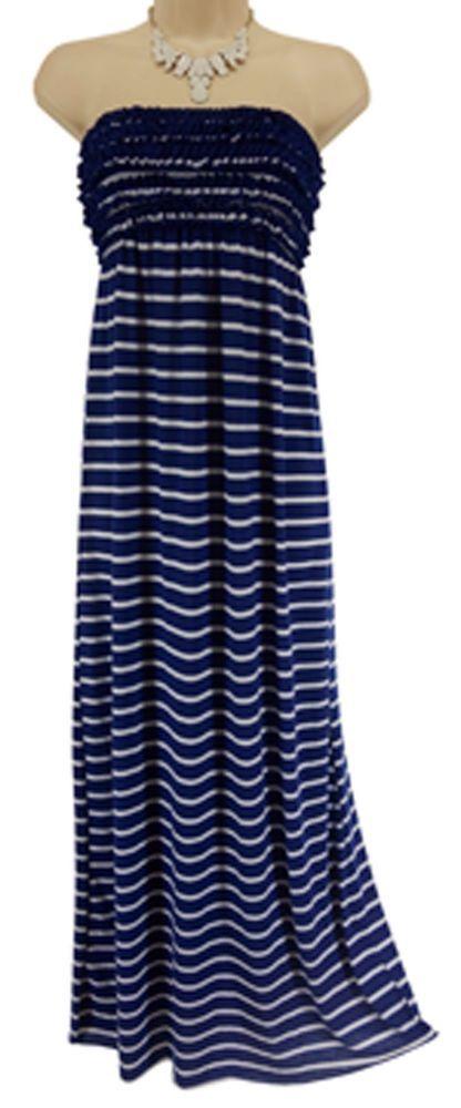 SMALL S/P NWT Sexy NAVY BLUE/WHITE STRIPED MAXI DRESS Strapless Summer Swim NEW #Xhilaration #MaxiDress
