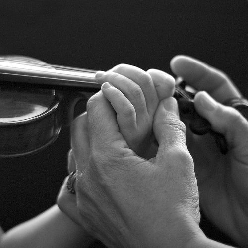 I meet my lesson teacher every weekends. I'm learning how to play a violin. I always feel grateful for her.