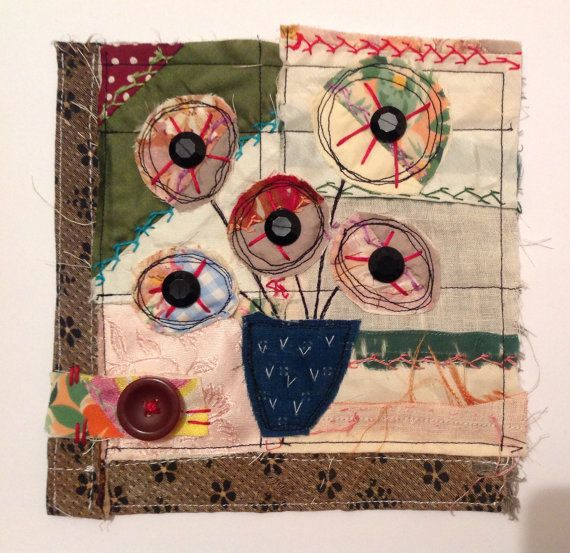 Flowers in a vase. Textile / fibre wall art by UndergroundStitcher