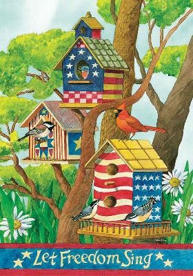 4th Of July Patriotic Bird House With Birds Folk Art