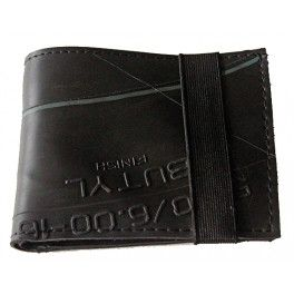 Wallet made from recycled inner tubes collected from junk yards.