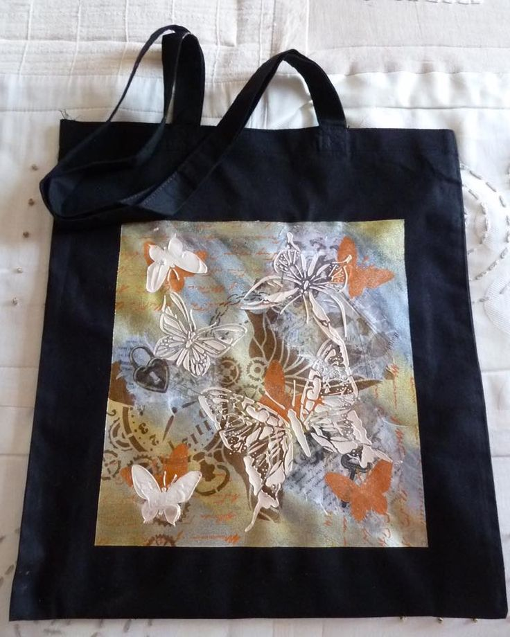 Tote bag decorated by Margaret Brackenbury. Imagination Crafts' Rice Papers, Art stencils, Hi-Lite Metallic Pastes.