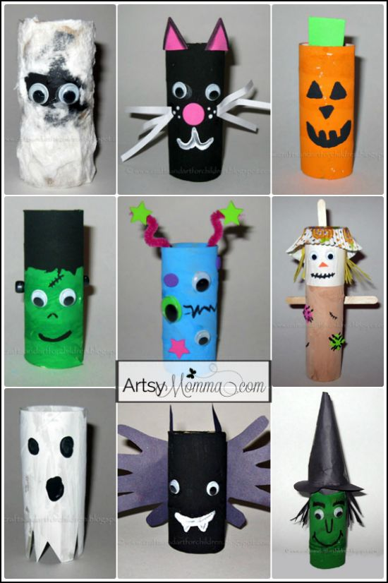 My son and I have been busy making these adorable Toilet Paper Tube Halloween Characters, a fun craft for kids and the perfect Halloween decoration! Toilet Paper Tube Halloween Characters Supplies Used: cardboard tubes kids paint paintbrushes googly eyes foam craft sheets pipe cleaners scissors glue and/or glue dots cupcake liner (for the scarecrow) black marker ... Read More about 9 Toilet Paper Tube Halloween Characters