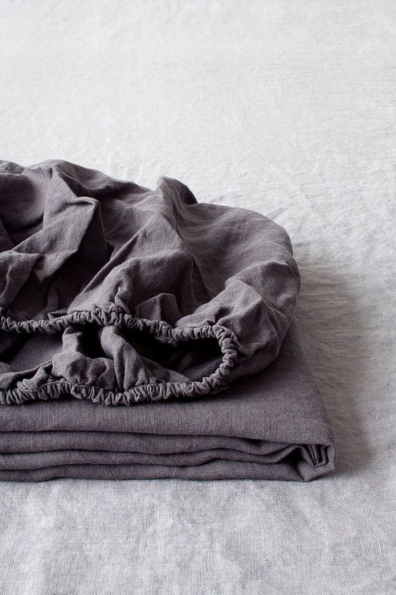 Dark Grey Fitted Stone Washed Linen Bed Sheet by LinenTalesInBed