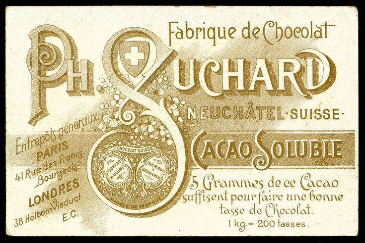 French Tradecard Back - Suchard Chocolate c1892.