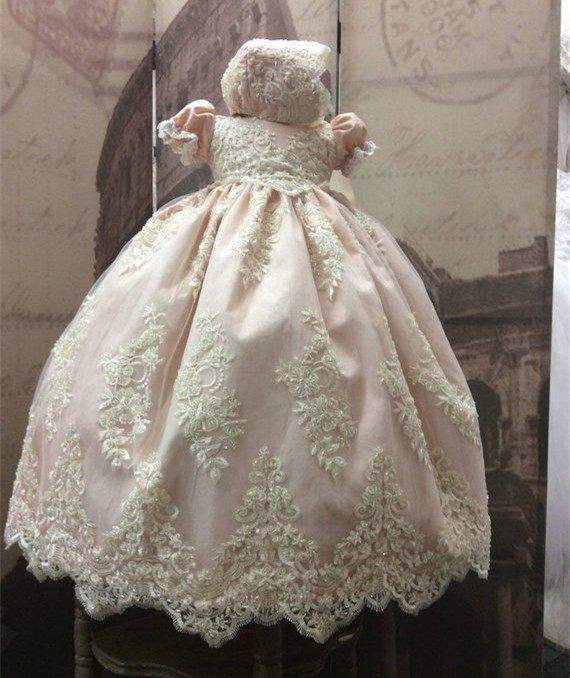 351f8a0ab82e0 New 2019 Baby Girls Christening Gown O Neck Lace Appliqued Beaded Infant  Girls Baptism Dress with Bonnet White Ivory
