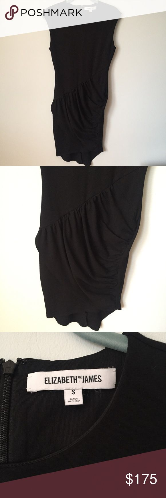 Elizabeth and James Ruched Asymmetrical Dress Stunning Elizabeth and James dress in classic black. Ruching on the lower portion of the dress is so flattering! Slightly asymmetrical hem. Doesn't photograph well hanging but looks great on! Perfect condition, I'll take reasonable offers. Elizabeth and James Dresses