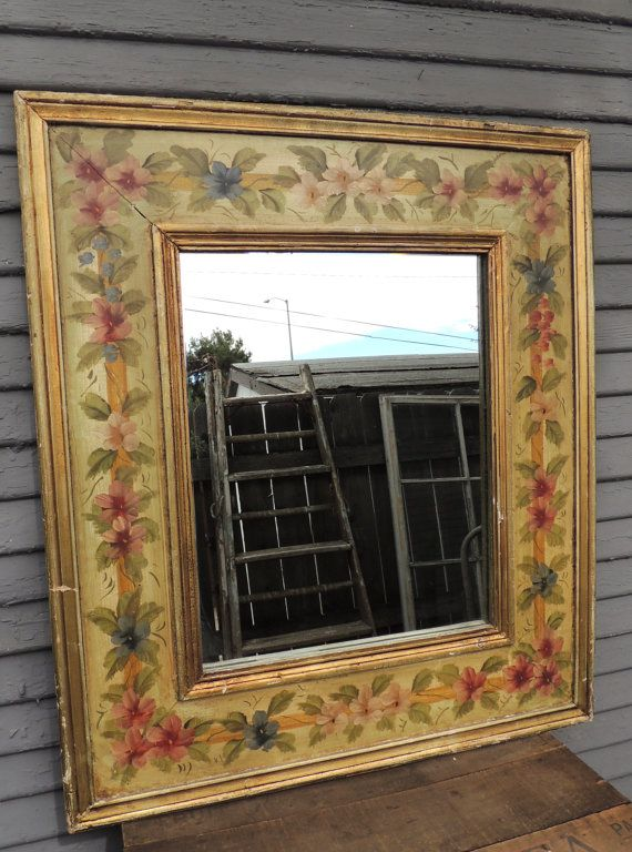 Large Vintage Hand Painted Mirror Floral Design Wood Frame Shabby Cottage Chic Flowers Wall Decor Hand Painted Mirrors Frame Shabby Shabby Chic Cottage