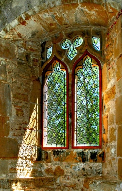 Battle Abbey Window, East Sussex - a partially ruined Abbey built on the site of the Battle of Hastings, 1066