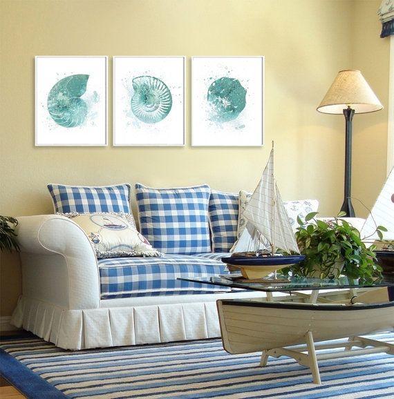 SET of Three Nautical Watercolor Art Shell Prints by QPrints