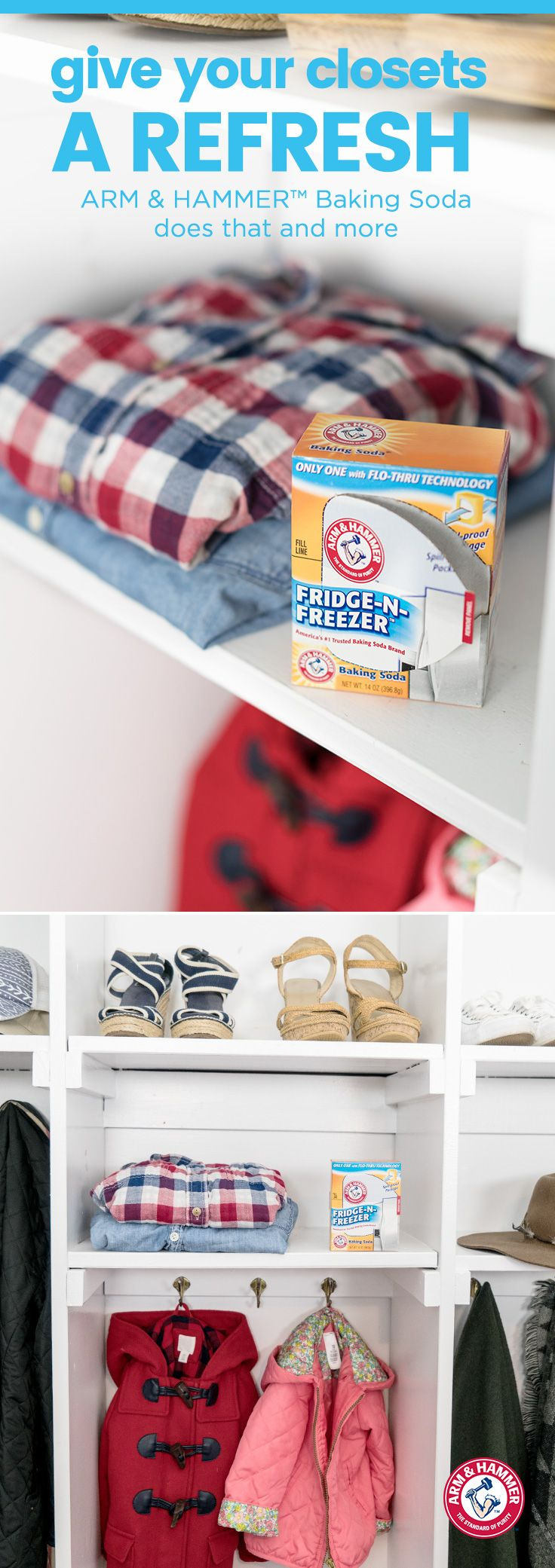"""What's """"in"""" this season?  We say fresh closets!  Just place a box of ARM & HAMMER™  Fridge-n-Freezer™ Baking Soda in your closet shelf.  Replace the box every 30 days to keep stale odors out all season long.  After all, freshness is always in style."""
