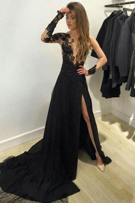 F134 Fashion A-line Long Sleeves Black Long Prom Dress with Side Slit,Chapel Train Evening Dresses,Lace Long Sleeve Prom Gowns