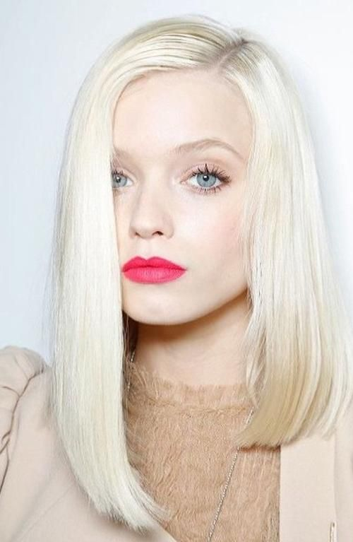 asymmetrical platinum blonde lob