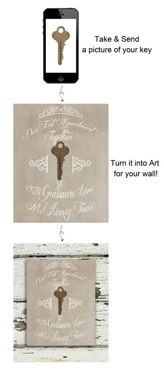 Take a picture of the first key to your home and have it designed into a print for the wall!