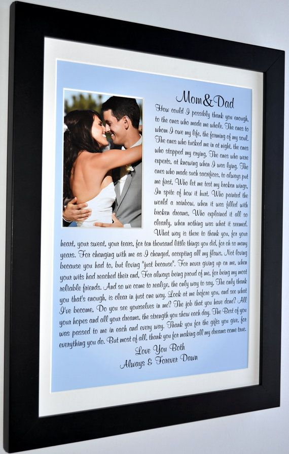 Wedding gifts for parents: thank you parents of the by Picmats