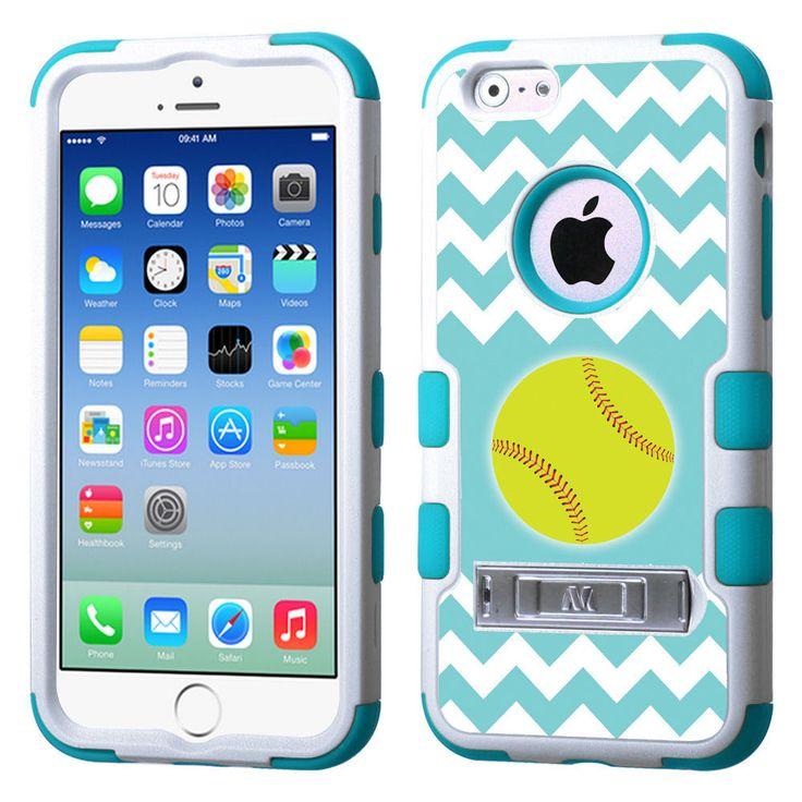 Hybrid Case (Wht/Teal/Stand) for Apple iPhone 6 (4.7-inch) -Chevron/Softball #UnbrandedGeneric