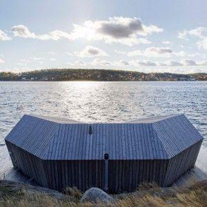 Pine-clad+sauna+by+Murman+Arkitekter++sits+on+the+Stockholm+archipelago
