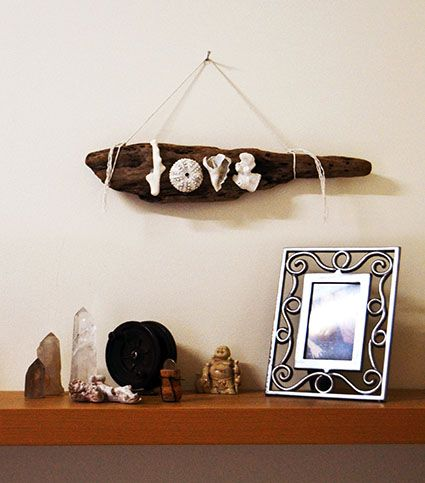 Love sign made from corals, shells and driftwood. Made By Nedo.