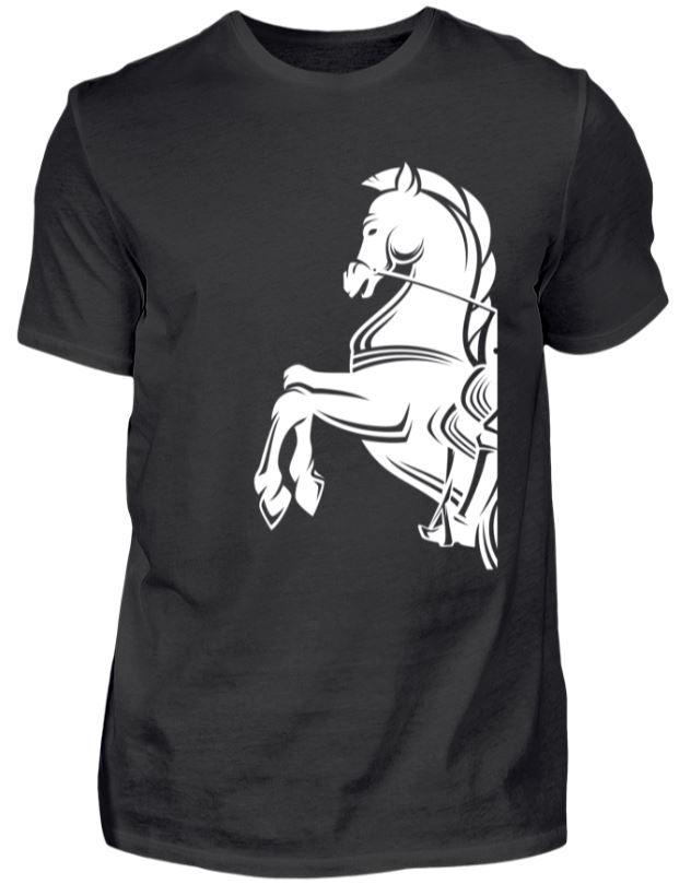 Pferde Silhouette - Steigendes Pferd. Schickes Shirt für Männer, auch schön als Geschenk für den Geburtstag oder Weihnachten. #Pferd #Silhouette #Steigen #Dressur #Springen #reiten