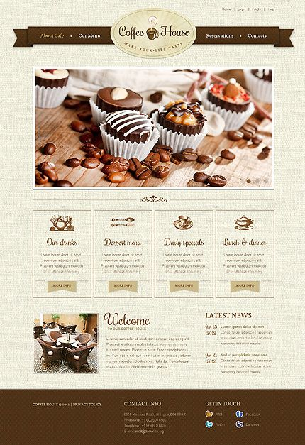 Template 37376 - Coffee House Website Template With Homepage Slider Animation  Ribbon Design Navigation Bar