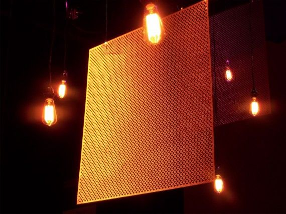 Stage design using retro bulbs and radiator covers