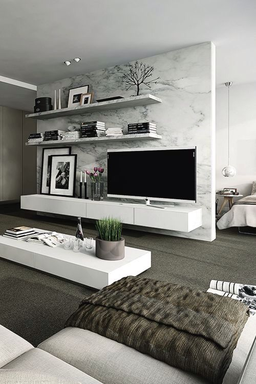 Like this idea for a bedroom. No tv in front of the bed it's on the other side. Cute.