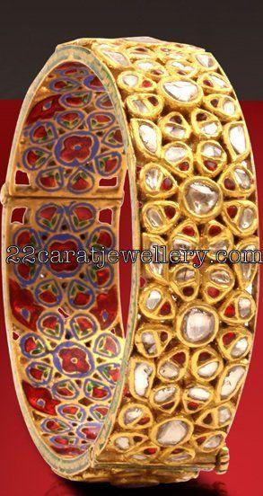 Jewellery Designs: Uncut Diamonds Broad Bangle