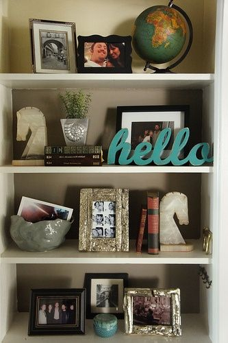 Pretty Book Shelf Arrangement And I Love The Hello Sign