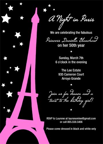 a night in Paris party invitations