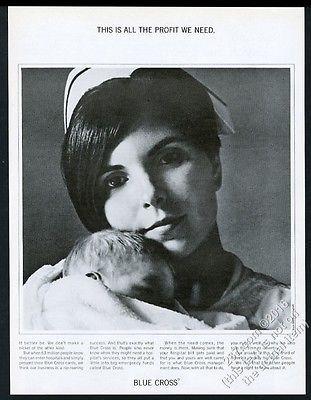 1967 nurse and newborn baby photo Blue Cross health insurance vintage print ad