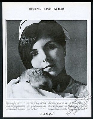 1967 nurse and newborn baby photo Blue Cross health insurance vintage print ad