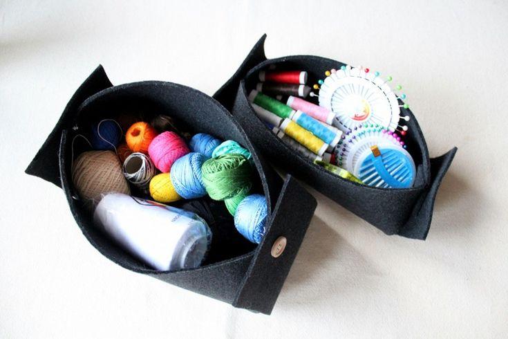 Pudełko z filcu DIY / organizer na bibeloty - szczegóły na blogu! #diy #filc #szycie