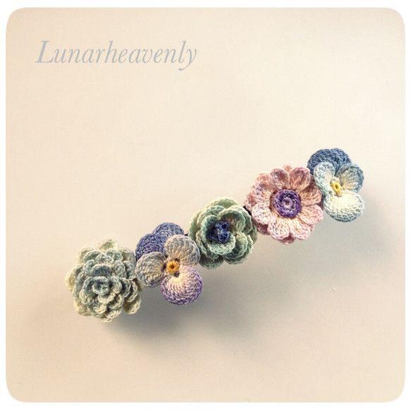 お花のバレッタ レース編み Crochet hair clip flower hair pin