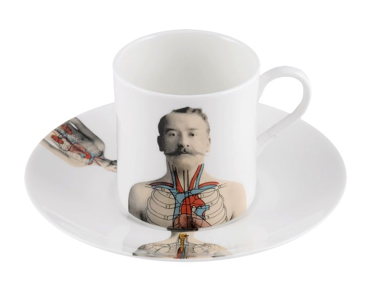 Enjoy your shot of coffee in this cool 'Anatomica' Espresso Cup & Saucer. Celebrating the beauty of the 'human machine' discovered in the 19th century and inspired by wonderful illustrations found in anatomical books during that time. Dishwasher safe, Fine Bone China. Find out more here: https://thenewenglish.co.uk/collections/anatomica/products/anatomica-espresso-cup-saucer-set #TheNewEnglish #Anatomica #HumanBody