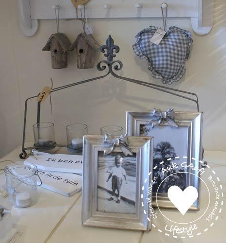 zilveren fotolijst met strik