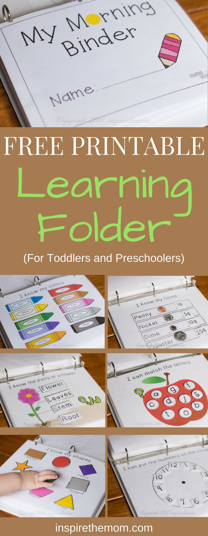 Whether you are teaching your prechooler at home or working with them in preparation for school, here is a free printable learning binder for you. #diy_school_folders