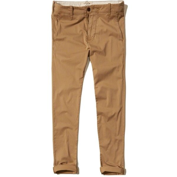 Hollister Super Skinny Chinos (65 AUD) ❤ liked on Polyvore featuring men's fashion, men's clothing, men's pants, men's casual pants, dark khaki, mens chino pants, mens chinos pants, mens zip off pants, mens zipper pants and mens skinny fit dress pants