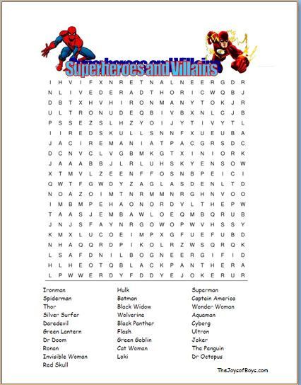 Superhero Word Search - Easy Party Game