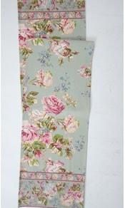 A lovely vintage style floral runner by April Cornell. Hand-screened print on cotton canvas. Mauve, mulberry and cream on a soft sage green background. Machine