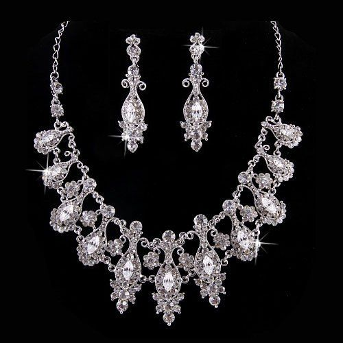 "Bridal Wedding Jewelry Set Crystal Rhinestone Classic Vintage Necklace Silver Accessoriesforever. $65.00. Dimensions (Size): Necklace: 13"" Long + 5"" extension (Lobster Claw Closure); Earrings: Approx. 2.35"" Drop x 0.65""W (Post Back Closure). Color: Silver, Clear. Nickel / Lead Compliant. Style: Vintage Inspired Design. Material: Clear Crystal Rhinestones, Clear Crystal Stones, Metal Casting, Rhodium / Silver Plated"