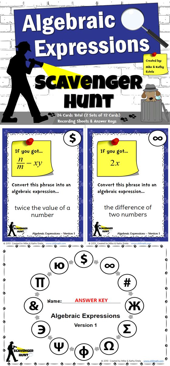 This packet includes two (2) versions of the Algebraic Expressions Scavenger Hunt activity - a total of 24 cards. By having two sets of cards with 12 problems each, your students will have a couple of opportunities to learn and have fun while learning how to write Algebraic Expressions.$