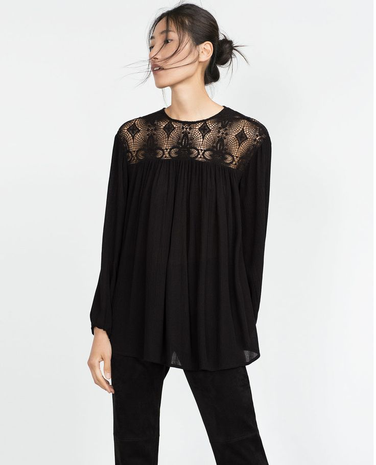 GUIPURE LACE COMBINED SHIRT-Gothic-Trends-WOMAN | ZARA United States