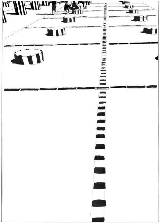 Peter-z - stripes in Paris . 2014 (Japanese ink 29x42cm)