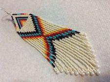 Long Wide Bone Fire Dancer Boho Native style 5 3/4 delica seed beaded earring