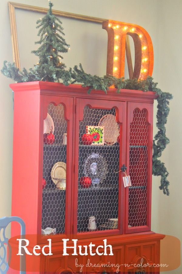 dreamingincolor: Red painted Hutch with chicken wire Love the color and transformation of this hutch!