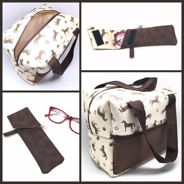 Bolsa + porta óculos de leitura, estampa cavalos + marrom! #bolsa #bolsas #leitura #portaoculos #oculos #cavalos #cavalo #cavalinhos #horses # # #FashionArts #artesanatosdamoda #boatarde