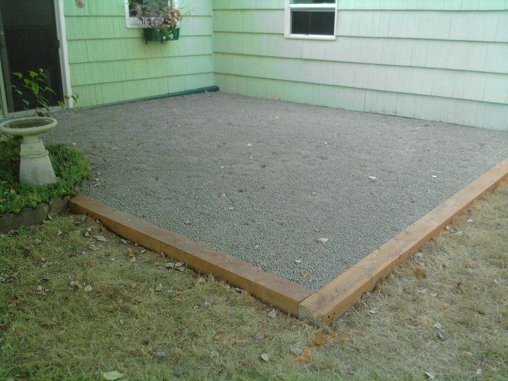 Installation of gravel patio Gravel patio, Pea gravel
